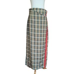 TOV Los Angeles Plaid Side Zip Maxi Skirt